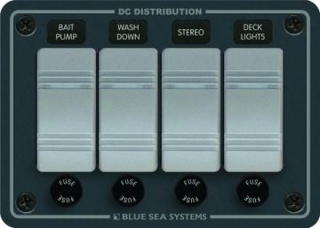 Blue Sea Systems Su geçirmez sigorta paneli. Flybridge ve açık kokpitler için dizayn edilmiştir.