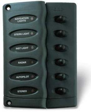 Kompakt sigorta paneli. Switch´ler kauçuk muhafaza ile korunmuş ve led´le donatılmıştır. Panel contalıdır.
