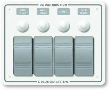 Su geçirmez sigorta paneli. 108x133 mm. Flybridge ve açık kokpitler için dizayn edilmiştir.