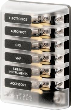 3AG sigorta bloğu. Agc (standart) ve mdl (gecikmeli) sigortalar ile kullanılır.