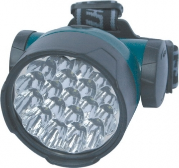 Baş feneri. 19 led ile güçlü aydınlatma sağlar. Şarjlı.