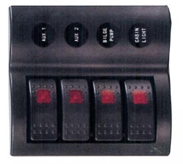 4'lü Switch Panel - B.S Otomatik Sigortalı ve Işıklı Ölçüler: 90 mm x 130 mm