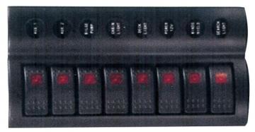 8'li Switch Panel - B.S Otomatik Sigortalı ve Işıklı Ölçüler: 90 mm x 230 mm