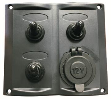 3'lü Switch Panel Çakmak Soketli 95x105 mm