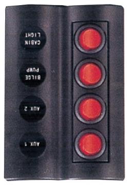 4'lü Switch Panel - A.S Otomatik Sigortalı ve Işıklı Ölçüler: 90 mm x 130 mm