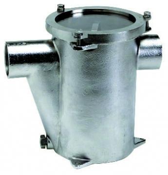 Deniz suyu filtresi. Komple AISI316 paslanmaz çelik. Tempered cam kapaklı. RINA onaylı. Ebat(mm): Ø143x200h