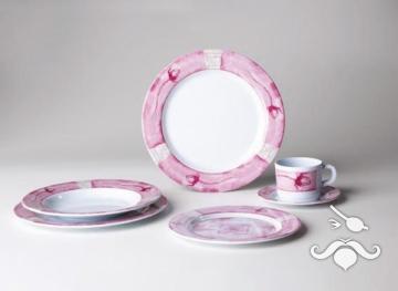Promo-Line Roses, 20 parça melamin yemek takımı
