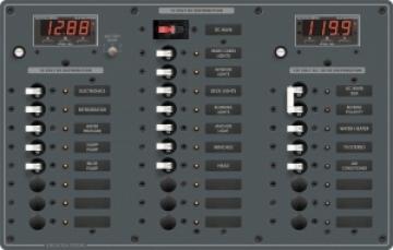 Sigorta paneli. 6 AC/18 DC pozisyonlu. 12V DC/230V AC. 375x254 mm. Etiket seti dahil.