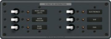 Blue Sea Systems DC 6 pozisyonlu sigorta paneli. 12V DC. 95x267mm. 30 adet DC Etiket. 6 adet 15A otomatik sigorta.