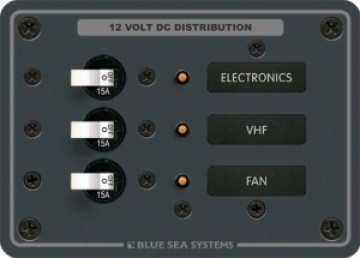 Blue Sea Systems DC 3 pozisyonlu sigorta paneli. 12V DC.
