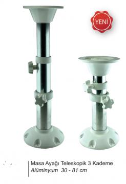 Masa Ayağı Teleskopik Beyaz 30-81cm 3 Kademeli  (Alüminyum Gövde)