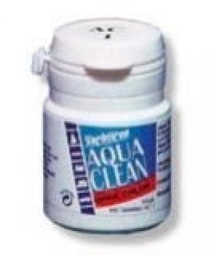 Aqua Clean. Klor içermez. İçme ve depolama suyunun tazeliğini uzun müddet muhafaza eder.